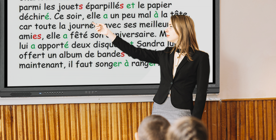 écran traulux en salle de classe